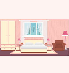 Interior bedroom with furniture carpet lamps and vector