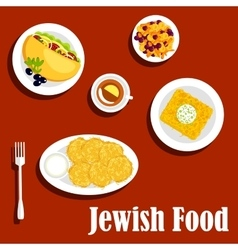 Jewish cuisine vegetarian dishes and pastry vector image vector image