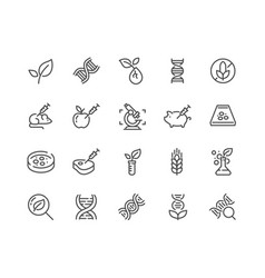 line gmo icons vector image vector image