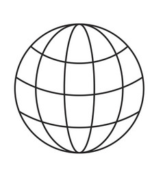 monochrome silhouette of world globe icon vector image vector image
