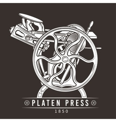 Platen press old letterpress vector