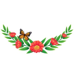 Red flower and butterfly vector image