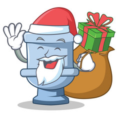 santa with gift toilet character cartoon style vector image