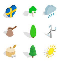 scandinavian country icons set isometric style vector image
