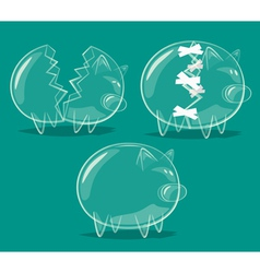Set of glass piggy banks vector image vector image