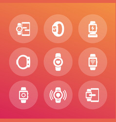 smart watch icons set wearable devices vector image vector image