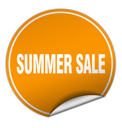 Summer sale round orange sticker isolated on white vector