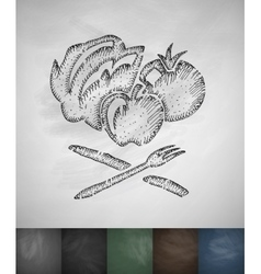 vegetables and fruits icon Hand drawn vector image