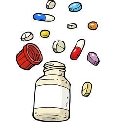 Vial of pills assorted vector