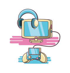 video game console and controller vector image