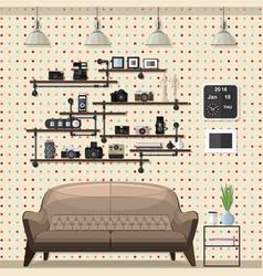 Vintage modern living room vector