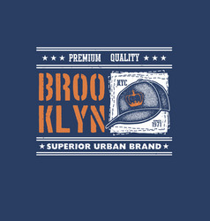 Vintage urban typography with baseball cap vector