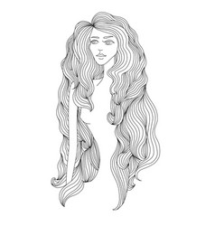 women long hair style girl face on white vector image vector image