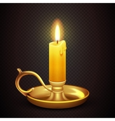 Realistic burning romantic candle isolated on vector