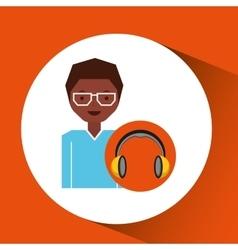 Headphones music cartoon guy glasses vector