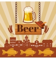 Beer pub concept cartoon style vector