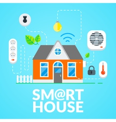 Modern Smart House Flat Design vector image