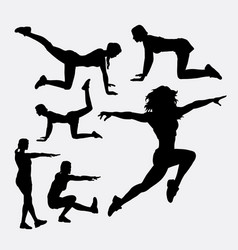 Woman training sport silhouette vector