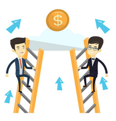 two business men competing for the money vector image