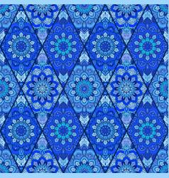 Blue background tile flower rhombus vector