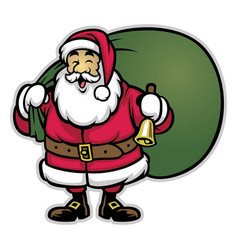Cartoon of santa claus bring the bunch of prizes vector