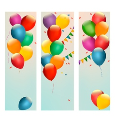 Retro holiday banners with colorful balloons and vector