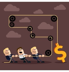 Happy businessman pulling rope with dollar vector image