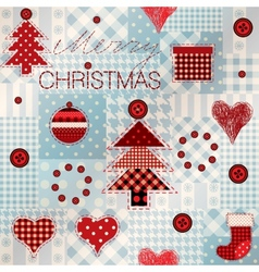 Pattern in patchwork style merry christmas vector