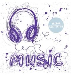 headphones doodle vector image