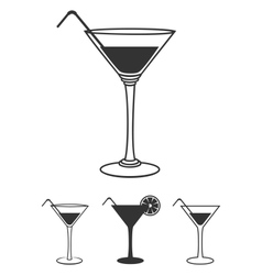 Martini glasses flat icons set isolated on white vector