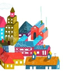 Small town or city with houses roofs vector