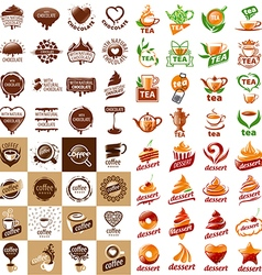 Large set of logos hot drinks and desserts vector