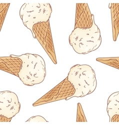 Doodle ice cream in a waffle cone seamless pattern vector