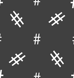 Hash tag icon seamless pattern on a gray vector