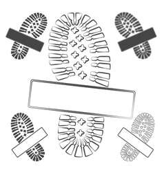Set of logos with footprints of shoes isolated vector