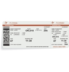 Variant of airline boarding pass ticket vector