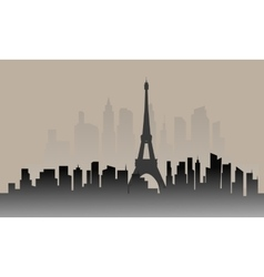 Silhouette of france city and eiffel tower vector image