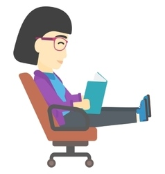 Business woman reading book vector