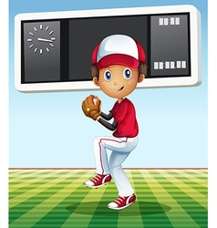 Boy playing baseball in the field vector