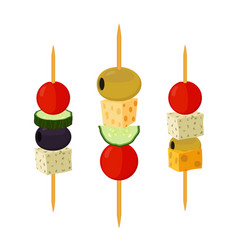 Canapes tapas in flat style buffet restaurant vector