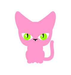 Cat pink isolated pet on white background vector
