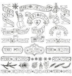 Christmas decoration labelsribbonslettering vector image
