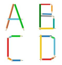 colored pencil alphabet vector image