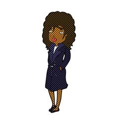 Comic cartoon woman in trench coat vector