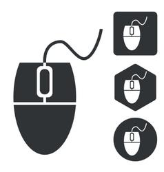 Computer mouse icon set monochrome vector image vector image
