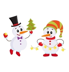 Cute and funny little snowman holding a garland vector image vector image