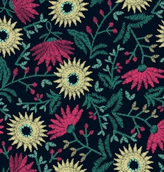 Embroidery floral seamless pattern on navy vector