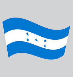 Flag of honduras waving on gray background vector