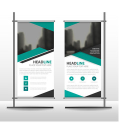 Green black triangle business roll up banner vector