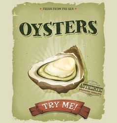 Grunge and vintage oyster shell poster vector